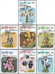 Cambodia 673-679 (complete issue) used 1985 Flowers