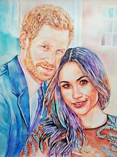 "11,69 × 15,75"" Prince Harry and Meghan Markle watercolor SIGNED and DATED"