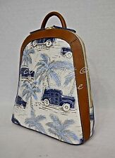 RARE! Brahmin Rosemary Backpack in Blue Copa Cabana - Embossed Cars/Palm Trees