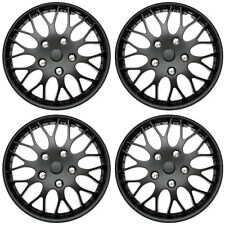 "4PC Set Matte Black 14"" Inch Hub Caps for OEM Steel Wheel Covers Cap Cover"