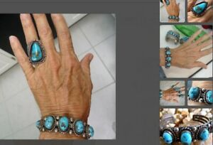 NAVAJO HIGH GRADE NATURAL MORENCI TURQUOISE STERLING SILVER CUFF AND RING SET