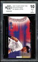 2001 Fleer Game Time Sticktoitness #1 Derek Jeter Card BGS BCCG 10 Mint+