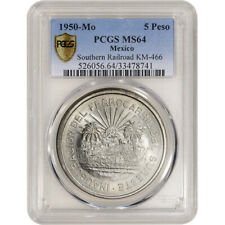 1950 Mo Mexico Silver 5 Pesos - Southern Railroad - PCGS MS64 Secure