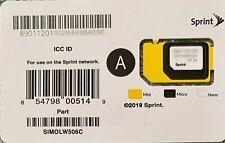 Sprint 3-in-1 Nano SIM Card A SIMOLW506C iPhone 5s 6s 7 Plus Pixel XL Tello