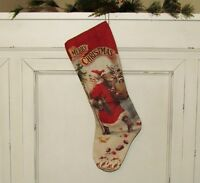 """Primitive Bethany Lowe BELSNICKLE Santa Claus CHRISTMAS 21"""" Canvas STOCKING"""