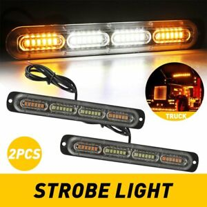 2x24LED Emergency Beacon Warning Hazard Flash Car Truck Amber/White Strobe Light
