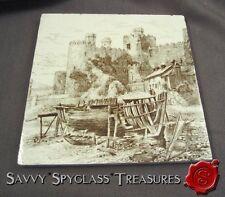 Lt Swenson Antique Minton China Works Brown Transferware Tile Conwy Castle