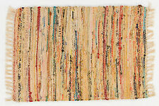 "Cotton Rag Throw Rug, 30"" x 50"", Honey w/Multi-Color Accents, Hand Woven"