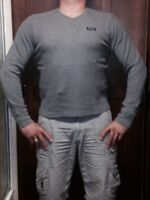 Abercrombie & Fitch Mens L/S Gray Jersey V Neck Medium Muscle Fit