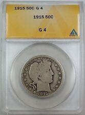1915 Barber Silver Half Dollar, ANACS G-4, Good Coin