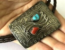 Vintage Tribal Sterling Silver Turquoise Red Coral Ornate Navajo Bolo Tie Patina