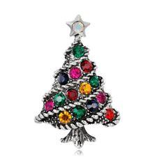 Brooch Pin Jewellery Gift For Family Tibetan Silver Xmas Christmas Tree Crystal