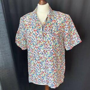 Vintage Pura Seta Women's Shirt Blouse Silk Ditsy Floral Print Size S Retro