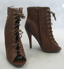 """TAN 4.5""""Stiletto high heel open toe lace up  sexy ankle boots Size  8"""