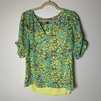 Cynthia Rowley Women's Top Size Large V-Neck Short Sleeves Yellow Green Black