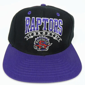 TORONTO RAPTORS NBA VTG SNAPBACK RETRO 2-TONE CAP HAT NEW! BANNER BLACK/PURPLE