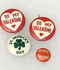 Collection Of 4 Vintage Original Holiday Pins Valentine St. Patrick Christmas