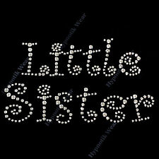 "Rhinestone Transfer "" Little Sister "" in Curlz Font, Iron On, Hotfix,"