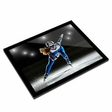 A3 Glass Frame - Short Track Athlete on Ice Art Gift #3652