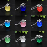 Women 925 Silver Plated Apple Pendant Necklace Choker Chain Fashion Jewelry Gift