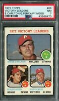 1973 Topps #66 Victory Lrds. Carlton/Perry/Wood PSA 7 NM
