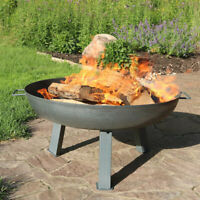 "Sunnydaze 30"" Fire Pit Cast Iron with Steel Finish Wood-Burning Fire Bowl"