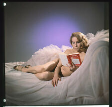 Glamour Model Seductive Pin Up pose on bed Spy novel Original Photo TRANSPARENCY