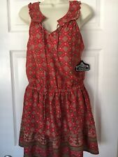 Angie Summer Dress Spaghetti Strap Boho Damask NEW WITH TAGS Large L