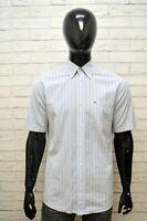 LACOSTE Uomo Camicia Manica Corta Camicetta Taglia 40 XL Maglia Shirt Man Hemd