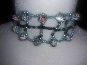 Bead glass multicolor clay RhinestonesLeaf Pattern Beaded collar chain Necklace