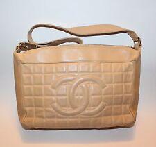 CHANEL Beige Leather Chocolate Bar Handbag Shoulder Bag CC Quilted Pattern