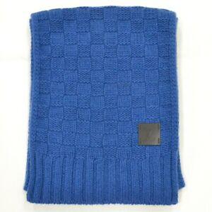 Louis Vuitton Echarpe Helsinki M75339 100% Cashmere Scarf Blue Men Unisex Italy