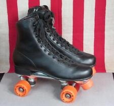 Vintage Roller Derby Mens Black Roller Skates Urethane '28' Wheels Sz.10 Nice!