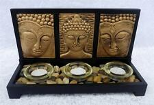 Gold Buddha Set 28cm Candle Holder Tealight Holders Garden Feng Shui Candles New