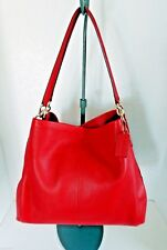 COACH Leather Madison Phoebe Classic Red Shoulder Bag NWT $395 +Tax