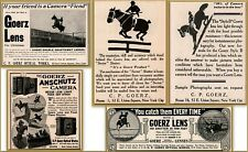 6 Early 1900's Goerz Camera Horse Themed Riders Jumpers Print Ads