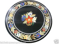 2'x2' Black Marble Side Coffee Table Top Mosaic Inlay Marquetry Living Art Decor