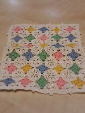 Vintage Artisan Miniature Dollhouse Crochet Afghan Baby Blanket Pastel Nursery