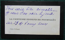 Countess Mélanie de Pourtales Annotated Calling Card Mistress of King Edward VII