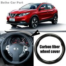 For Nissan Qashqai /Sunny Black Carbon Fiber Leather Steering Wheel Cover Case