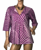 *FIREFLY COLLECTION SIZE XL STRIPED COTTON  PLEATED TUNIC TOP