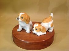 "Vintage Porcelain Springer Spaniel Puppy Figurines Tan And White ""Buddies"""