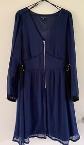 City Chic - Navy Blue - Layered Lined Zip Chiffon Dress - Size XL