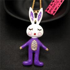 Rabbit Crystal Pendant Chain Necklace Betsey Johnson Lively Purple Enamel Sports