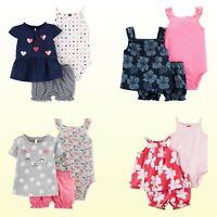 New Carter's Baby Girls' 3-Pc Dot / Floral / Heart Diaper Cover Set Playwear