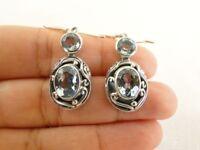Blue Topaz Gemstone 925 Sterling Silver Dangle Earrings