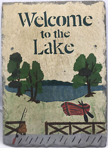 Slate Wall Sign Welcome To The Lake Handpainted Tile Slate Sign Large 14.3x10.3""