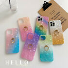 For iPhone 12 11 Pro Max SE 2 XS XR 8 7 Plus Gradient Ring Stand Soft Case Cover