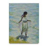 NY Art - 12x16 Caribbean Woman at Beach Original Oil Painting on Canvas - Sale!