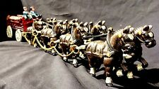 Antique Cast Iron Horse Drawn Carriage Beer Wood Barrels Wagon Clydesdale Dog +